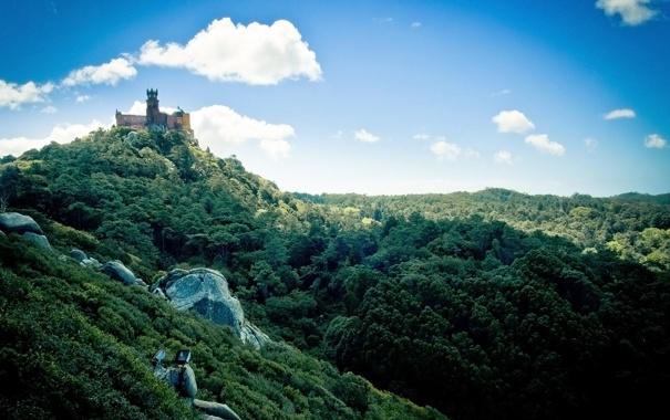 Фото обои зелень, замок, португалия, Palacio da Pena