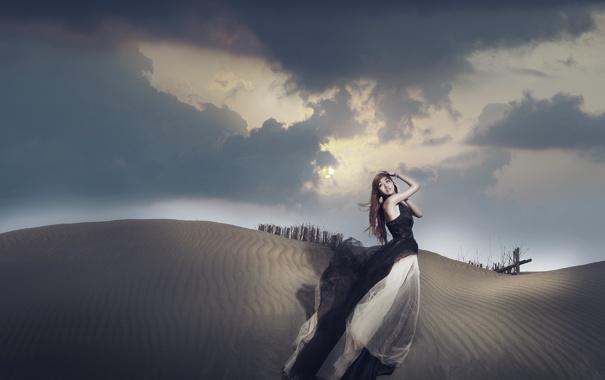 Фото обои взгляд, девушка, вечер, дюны, азиатка