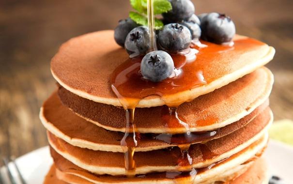 Фото обои ягоды, еда, черника, мед, блины, голубика, блинчики