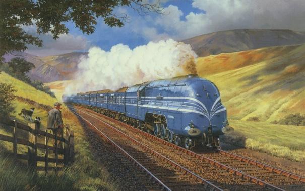 Фото обои собаки, природа, дым, рельсы, вагоны, Поезд, локомотив