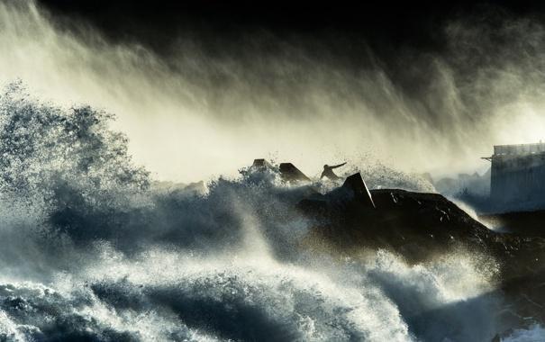 Фото обои брызги, тучи, шторм, человек, буря