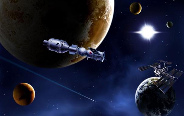 Фото обои космос, корабли, орбита, СССР