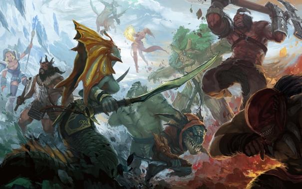 Фото обои axe, Crystal Maiden, Bloodseeker, dota 2, Leviathan, moba, Rylai