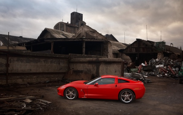 Фото обои развалины, свалка, corvette, chevrolet, innotech