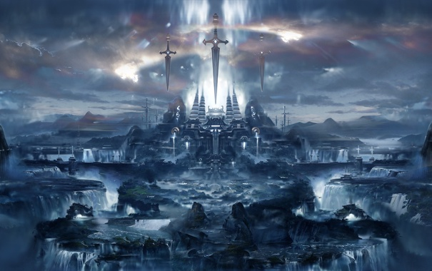 Фото обои город, водопады, арт, меч, вид, храм
