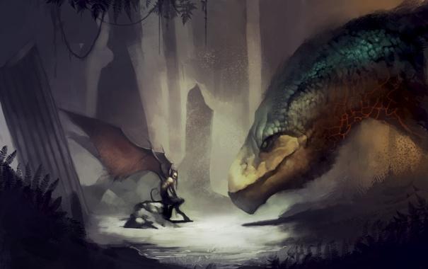 Фото обои лес, дракон, темно, встреча, крылья, демон