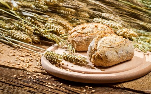 Фото обои хлеб, колосья, пшено, выпечка, булочки
