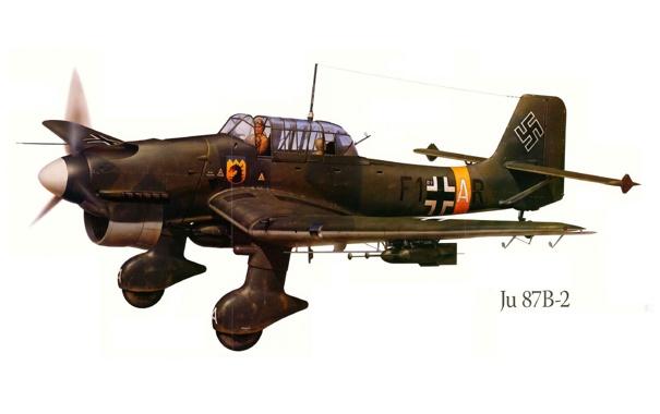 Фото обои самолет, война, рисунок, бомбардировщик, германия, Ю-87B-2