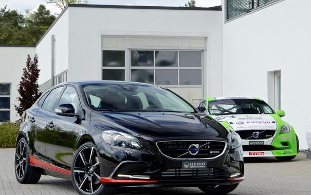 Фото обои черный, Volvo, автомобиль, вольво, V40, Heico Sportiv