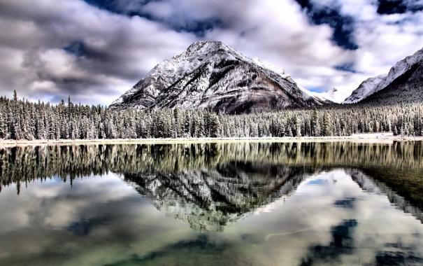 Фото обои небо, пейзаж, горы, озеро