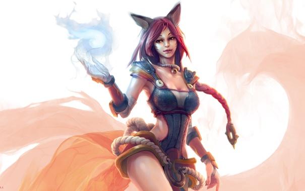 Фото обои грудь, взгляд, девушка, магия, жест, art, лисица