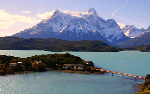 Фото обои горы, дома, Чили