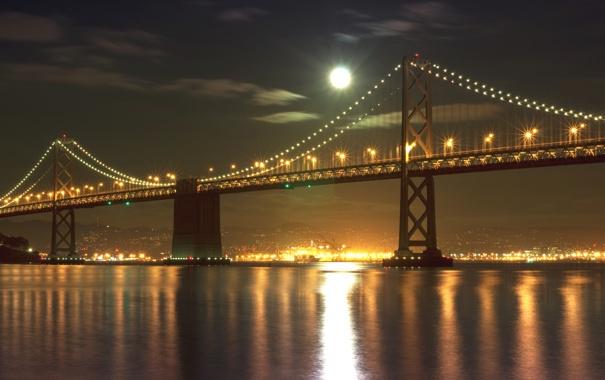 Фото обои море, небо, свет, ночь, город, огни, луна