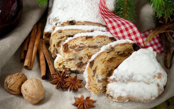 Фото обои орехи, корица, кулич, выпечка, кекс, пряности, изюм