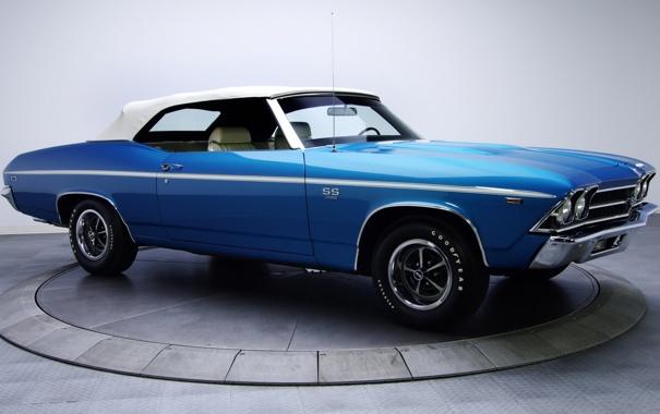 Фото обои синий, фон, Chevrolet, 1969, Шевроле, передок, Chevelle