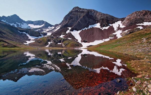 Фото обои небо, вода, горы, скала, озеро, отражение, камни