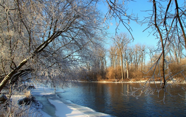 Фото обои зима, пейзаж, река