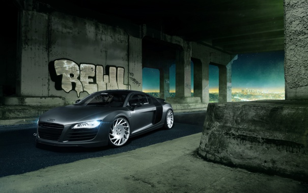 Фото обои Audi, City, Front, Supercar, Vossen, Wheels, Nigth