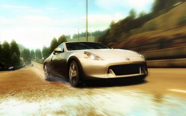 Фото обои дорога, брызги, гонка, полиция, погоня, nissan 370z, Need for Speed Undercover