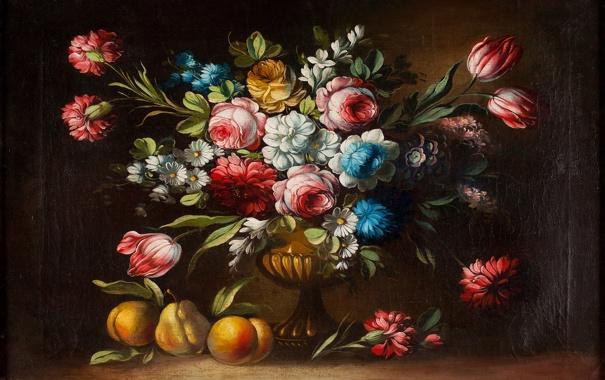 Фото обои цветы, букет, ваза, фрукты, натюрморт