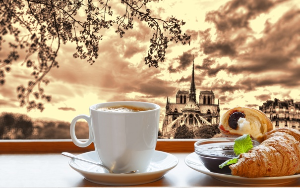 Фото обои Париж, кофе, завтрак, Paris, cathedral, France, Notre Dame