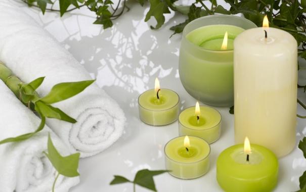 Фото обои полотенце, свечи, бамбук, Spa, спа, bamboo, candles