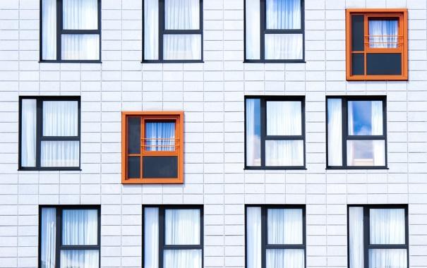 Фото обои оранжевый, дом, стена, рама, окна, окно, windows