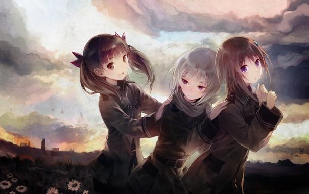 Фото обои девочки, Sora no woto, звуки неба
