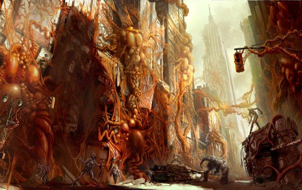 Фото обои апокалипсис, центр, нью йорк, Prototype 2, мутанцы