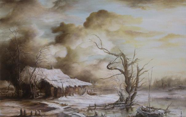 Фото обои зима, снег, пейзаж, тучи, дом, река, дерево