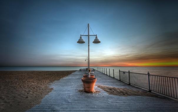 Фото обои море, пляж, пейзаж, закат