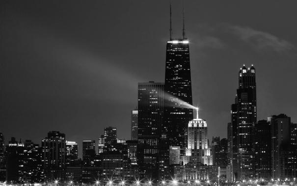 Фото обои вода, небоскребы, черно белое, америка, чикаго, сша, иллинойс