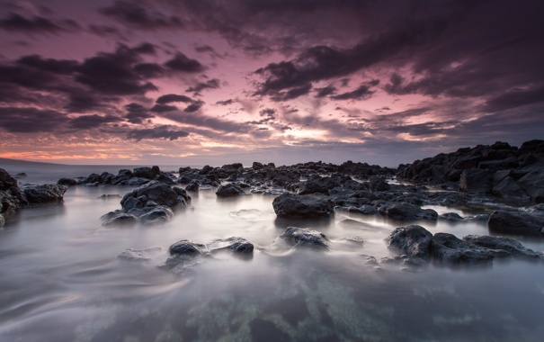 Фото обои пейзаж, камни, океан, рассвет, Гаваи