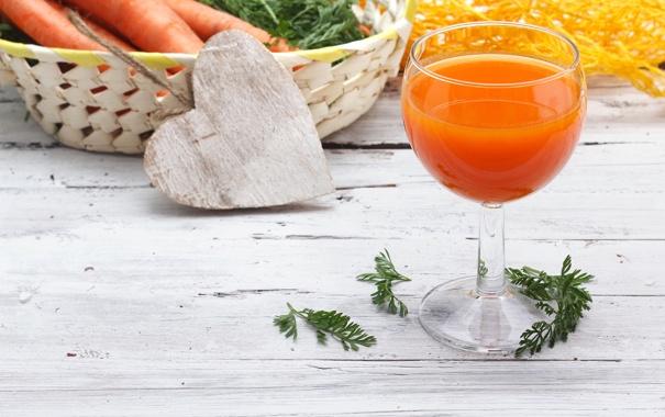 Фото обои зелень, стакан, сердце, сок, овощи, сердечко, морковь