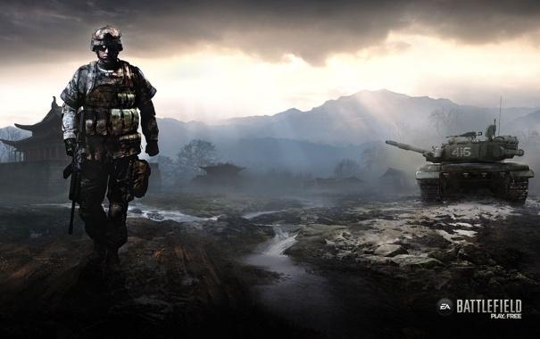 Фото обои игра, солдат, танк, Battlefield, play4free