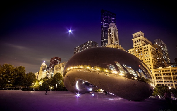 Фото обои ночь, город, парк, Chicago, монумент, Millenium Park, The Bean