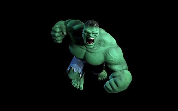 Фото обои монстр, черный фон, hulk, крик, халк, зеленый, графика