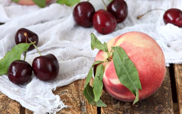 Фото обои вишня, фрукты, персик
