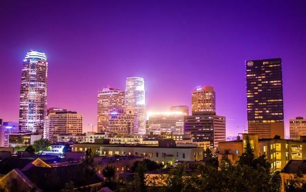 Фото обои США, USA, Калифорния, Los Angeles, огни, Ночь, Лос Анджелес