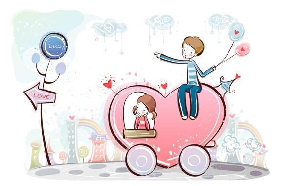 Фото обои сердце, рисунок, мальчик, девочка, сердечки, love, колёса
