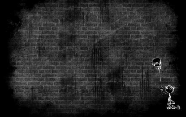 Фото обои темный фон, серый, рисунок, шарик, девочка