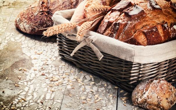 Фото обои fresh, пшеница, хлеб, булка, корзинка, bread, мука