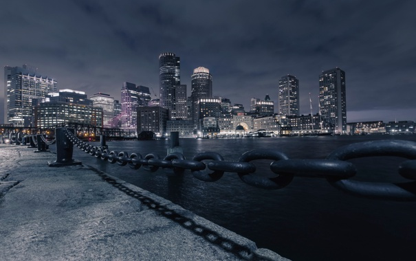 Фото обои ночь, река, Boston, Massachusetts