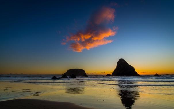 Фото обои море, пейзаж, закат, облако