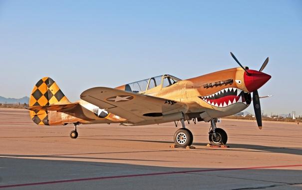 Фото обои истребитель, войны, аэродром, Warhawk, мировой, Второй, времён