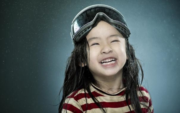 Фото обои улыбка, очки, девочка, азиатка, гримаса
