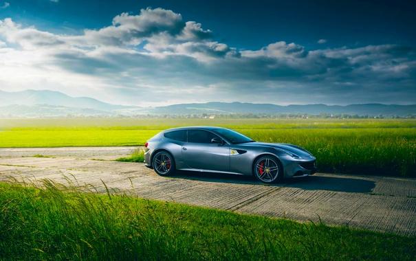 Фото обои Ferrari, Nature, Clouds, Sky, Grass, Green, Front