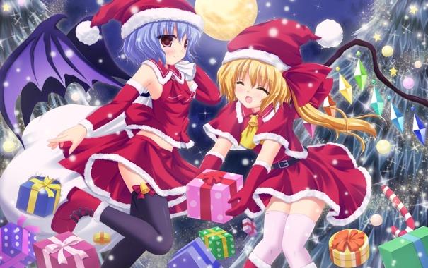 Фото обои луна, девочки, новый год, крылья, подарки, кристаллы, touhou