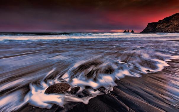 Фото обои море, ночь, берег