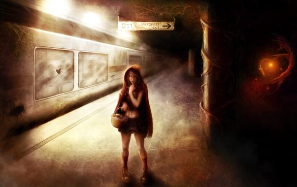 Фото обои глаза, девушка, вагон, фонарь, Метро, корзинка